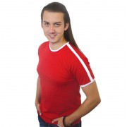 Футболка Лайн красная с белыми вставками
