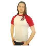 Футболка Реглан белая с красными рукавами